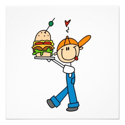 Sandwich-Kenner-Strichmännchen Individuelle Einladungskarte