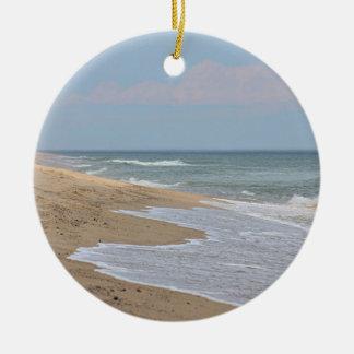 Sandy-Strand an der nationalen Küste auf Cape Cod Rundes Keramik Ornament