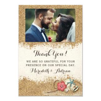 Sandy-Strand-Hibiskus-Hochzeit danken Ihnen Foto Karte