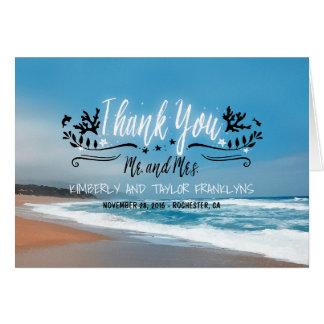 Sandy-Strand-Hochzeit danken Ihnen Mitteilungskarte