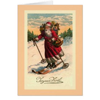 """""""Sankt auf Skis"""" Vintage französische Karte"""
