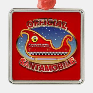 Sankt-Beweglich - der Reindeerless Pferdeschlitten Quadratisches Silberfarbenes Ornament