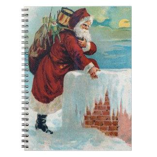 Sankt, die das Kamin-Vintage Weihnachten Spiral Notizbücher