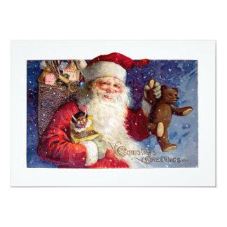 Sankt mit Teddybären und Krampus in einem Kasten 12,7 X 17,8 Cm Einladungskarte