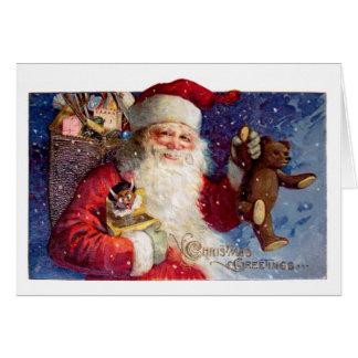 Sankt mit Teddybären und Krampus in einem Kasten Karte