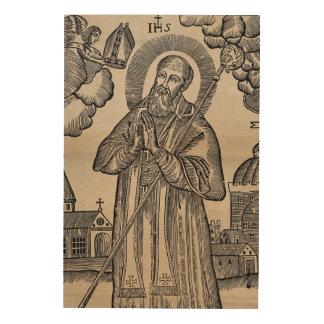 Sankt Nikolaus, der den Gehrungsfuge-Vintagen Holzleinwand