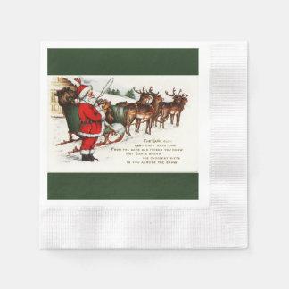 Sankt und Pferdeschlitten mit dem Ren geprägt Serviette