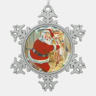 Sankt und sein Ren Schneeflocken Zinn-Ornament