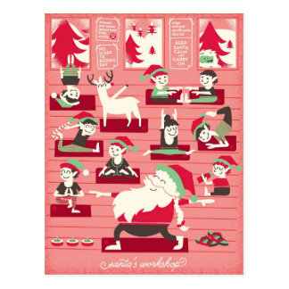 Sankt Yoga-Werkstatt-Weihnachtspostkarte Postkarte