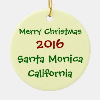 SANTA MONICA KALIFORNIEN WEIHNACHTSverzierung 2016 Keramik Ornament