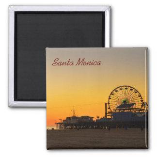 Santa Monica Pier-Sonnenuntergang Quadratischer Magnet