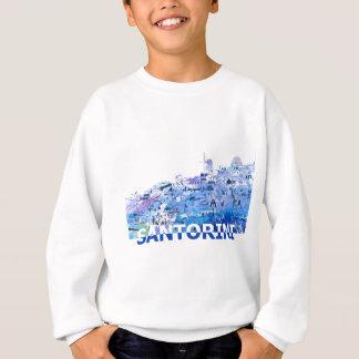 Santorini Skyline in sauberem Scissor Schnitt-Art Sweatshirt
