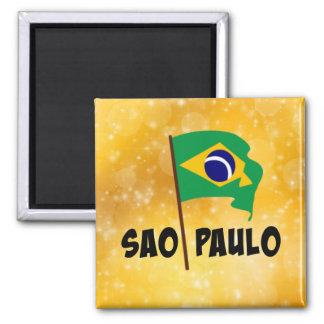 Sao-Paulo, Flagge von Brasilien Quadratischer Magnet