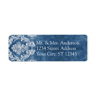 Saphir-blaue rustikale Damast-Muster-Hochzeit Kleiner Adressaufkleber
