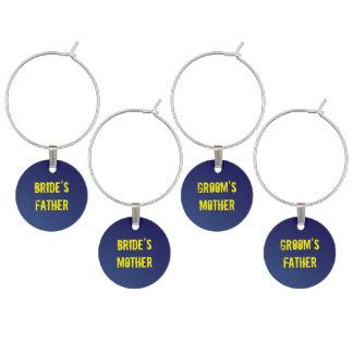 Saphir-blaue Schmutz-Hochzeit - Eltern Weinglas Anhänger