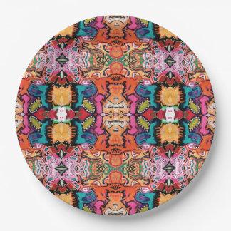 Saragui Reflexions-bunte abstrakte Papierplatte Pappteller