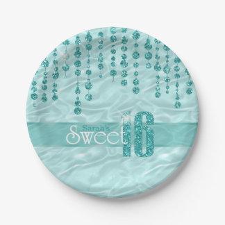 Satin-Juwel 16. Geburtstag aquamarines ID260 Pappteller