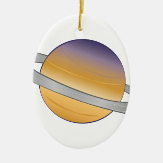 Saturn Ovales Keramik Ornament