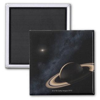 Saturn-Planet im Sonnensystem, Nahaufnahme Quadratischer Magnet