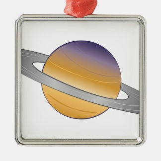 Saturn Quadratisches Silberfarbenes Ornament