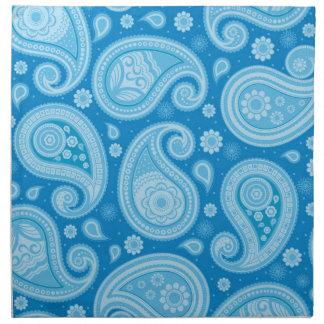 Sauberes blaues elegantes Paisley-Musters Stoffserviette