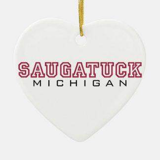 Saugatuck MI - Buchstaben Keramik Herz-Ornament