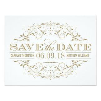 Save the Date | blüht antikes Gold und Weiß Karte