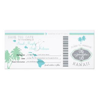 Save the Date Boarding-Durchlauf nach Hawaii 10,2 X 23,5 Cm Einladungskarte
