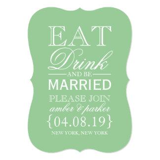 Save the Date essen | Getränk u. sind verheiratet 12,7 X 17,8 Cm Einladungskarte