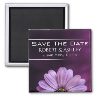 Save the Date lila Blumen-Hochzeit Quadratischer Magnet
