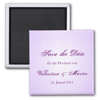 Save the Date Magnete in lila für Ihre Hochzeit