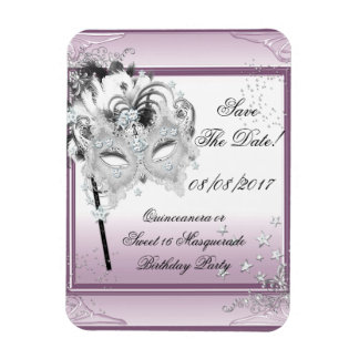 Save the Date Maskerade Quinceanera Bonbon-16 Rechteckige Magnete