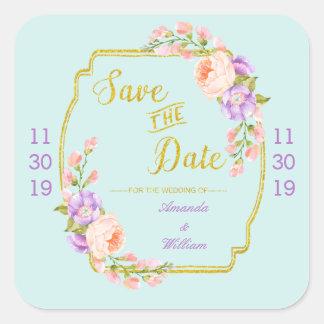 Save the Date mit Blumen und Gold Quadratischer Aufkleber
