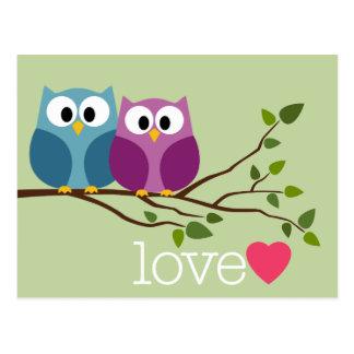 Save the Date mit niedlichen Eulen-Paaren Postkarten