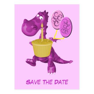 Save the Date niedliche lila Drache-Ballone Postkarte