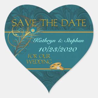 Save the Date Pfau-Hochzeits-Herz Herz-Aufkleber