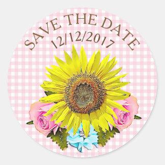 Save the Date rosa Gingham-Sonnenblume-Aufkleber Runder Aufkleber