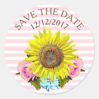 Save the Date rosa Streifen-Sonnenblume-Aufkleber Runder Aufkleber