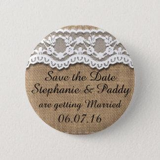 Save the Date rustikale Leinwand und Spitze Runder Button 5,7 Cm