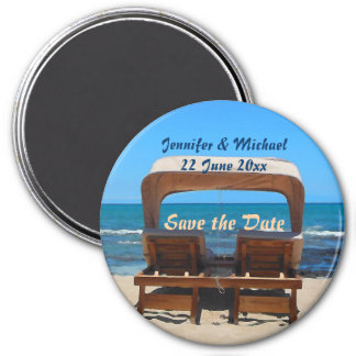 Save the Date Strand-Hochzeit Runder Magnet 7,6 Cm
