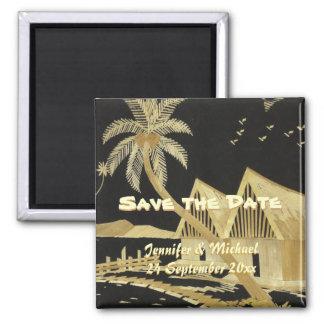 Save the Date tropische Hochzeit in Urlaubsort Quadratischer Magnet