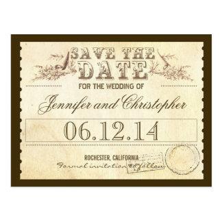 Save the Date typografische Karte der alten Postkarten