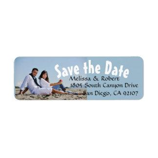 Save the Date Wedding Paar-Foto Rückversand-Adressaufkleber