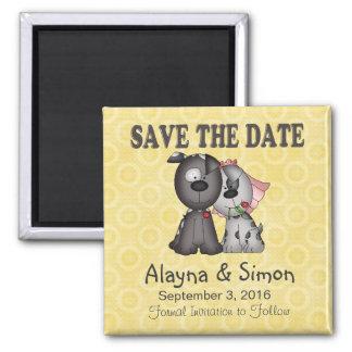 Save the Date Welpen Quadratischer Magnet