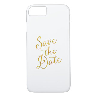 Save the Date Zitat-GoldImitat-Folien-Verlobung iPhone 8/7 Hülle