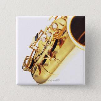 Saxophon 2 quadratischer button 5,1 cm