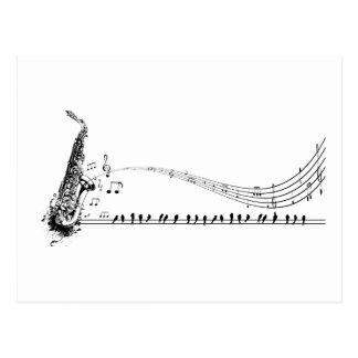 Saxophon ~ Saxophon-Musik u. Amseln Postkarte