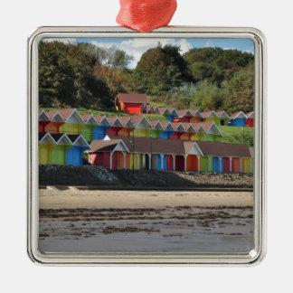 Scarborough-Strand-Hütten Quadratisches Silberfarbenes Ornament