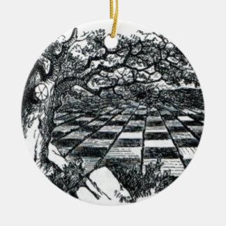 Schach-Brett im Märchenland Rundes Keramik Ornament