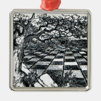 Schach-Brett im Märchenland Silbernes Ornament